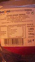 Queso edam tierno - Informació nutricional - es