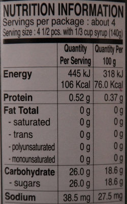 Lychee au sirop - Nutrition facts
