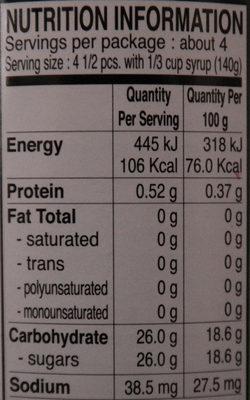 Lychee au sirop - Nutrition facts - en