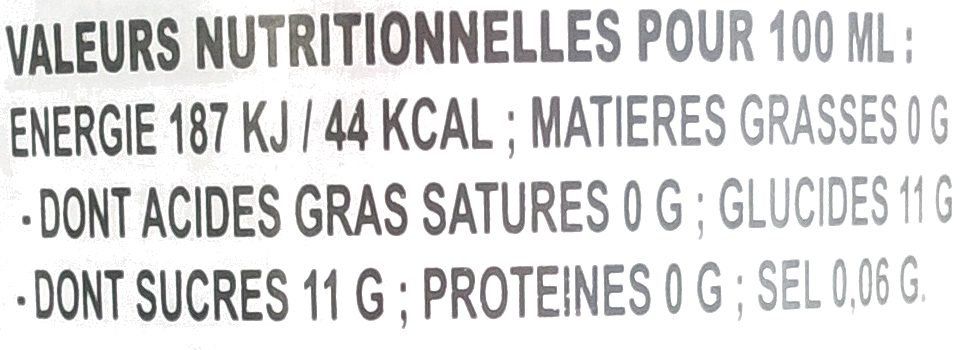 Lychee drink - Valori nutrizionali - fr
