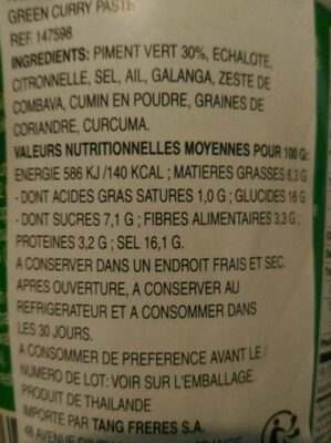 Green curry paste - Informations nutritionnelles - fr
