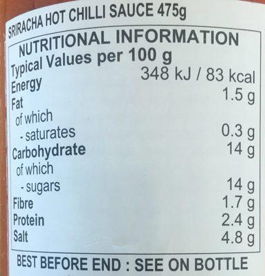 Sriracha Hot Chilli Sauce - Nutrition facts