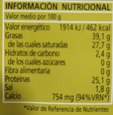 Queso Curado de OVEJA - Nutrition facts