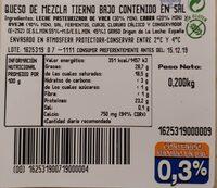 Queso mezcla tierno bajo en sal - Valori nutrizionali - es
