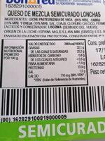 Queso de mezla semicurado lonchas - Nutrition facts - es