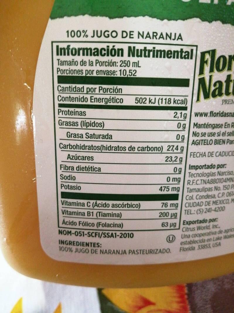 - Informació nutricional