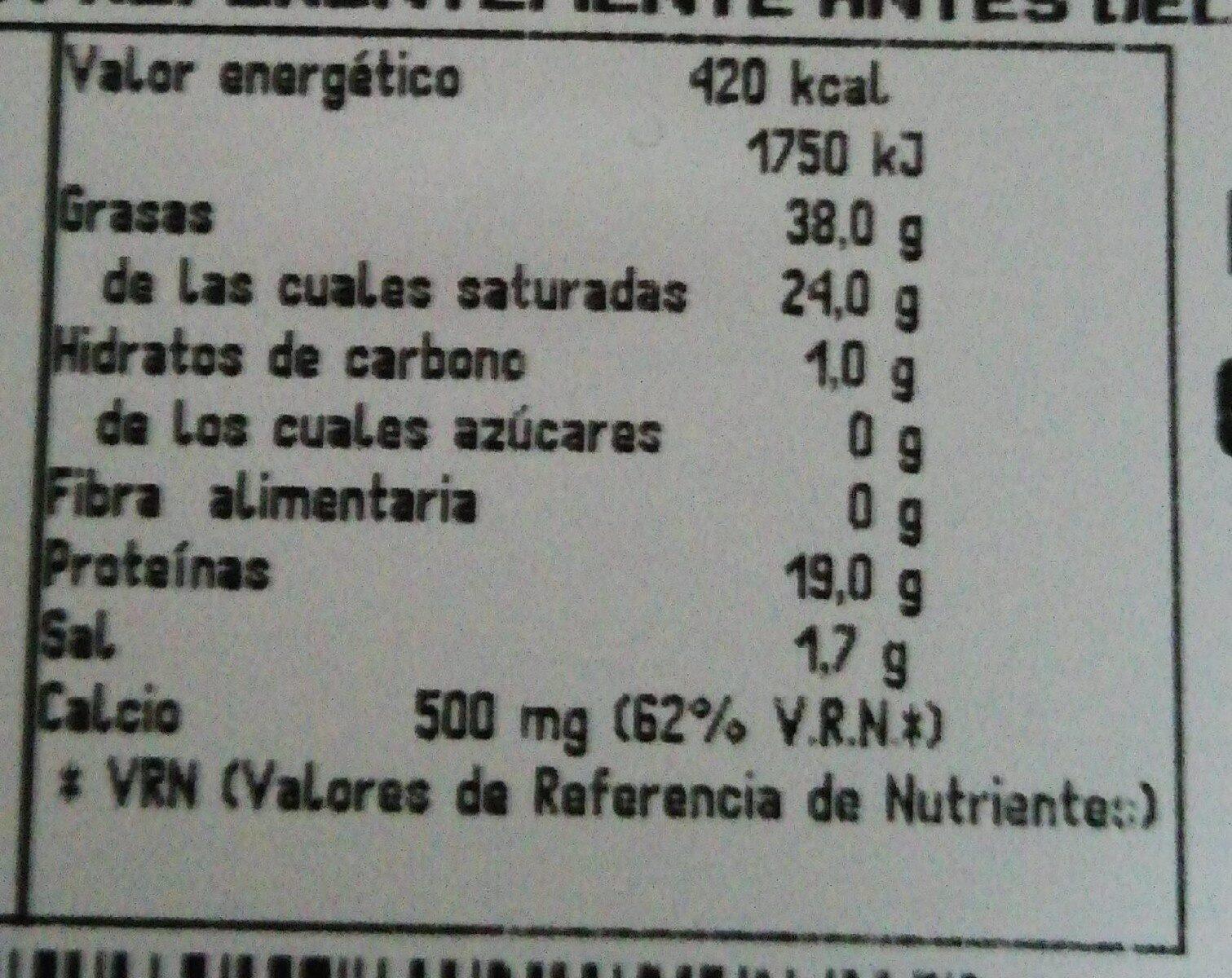 Queso Havarti Madurado Danés - Nutrition facts - es