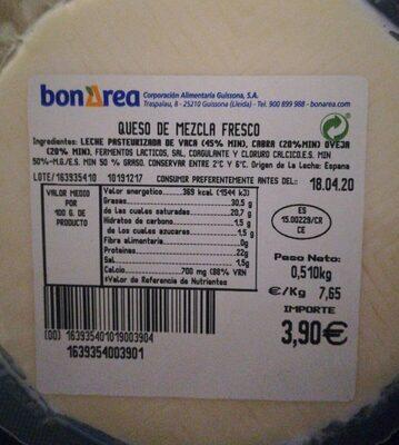 Queso de mescla fresco - Valori nutrizionali - es