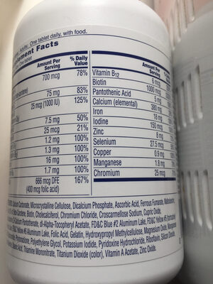 One a day women's formula - Nutrition facts