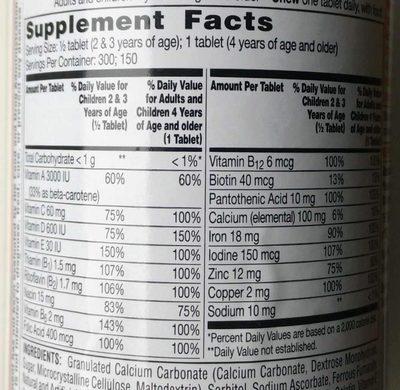 Flintstones complete - Nutrition facts - en
