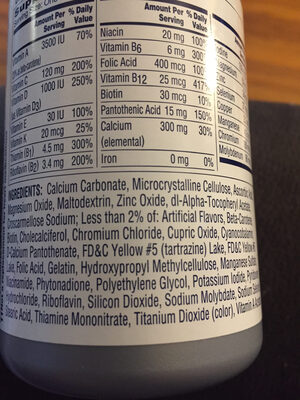 One a Day Women's 50+ - Ingredients
