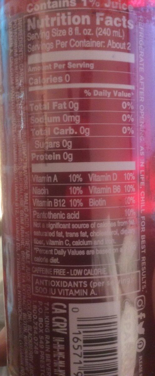 Black raspberry naturally flavoured sparkling water - Informations nutritionnelles