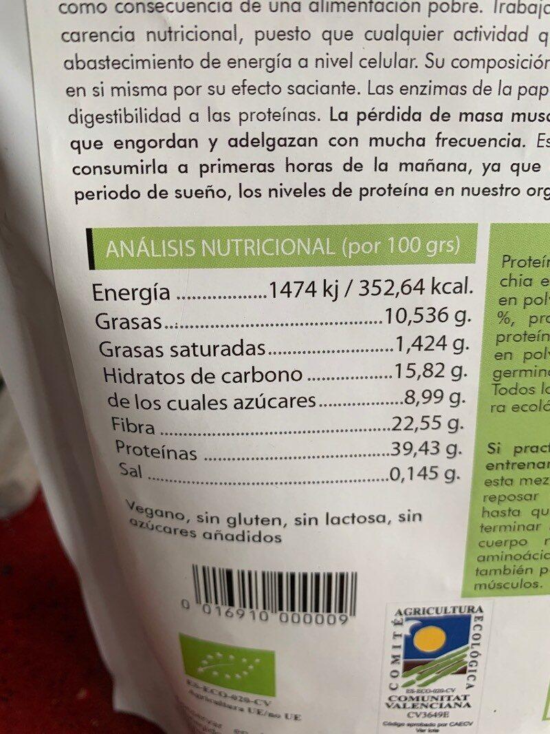 Mezcla de proteínas veganas ecológicas - Información nutricional