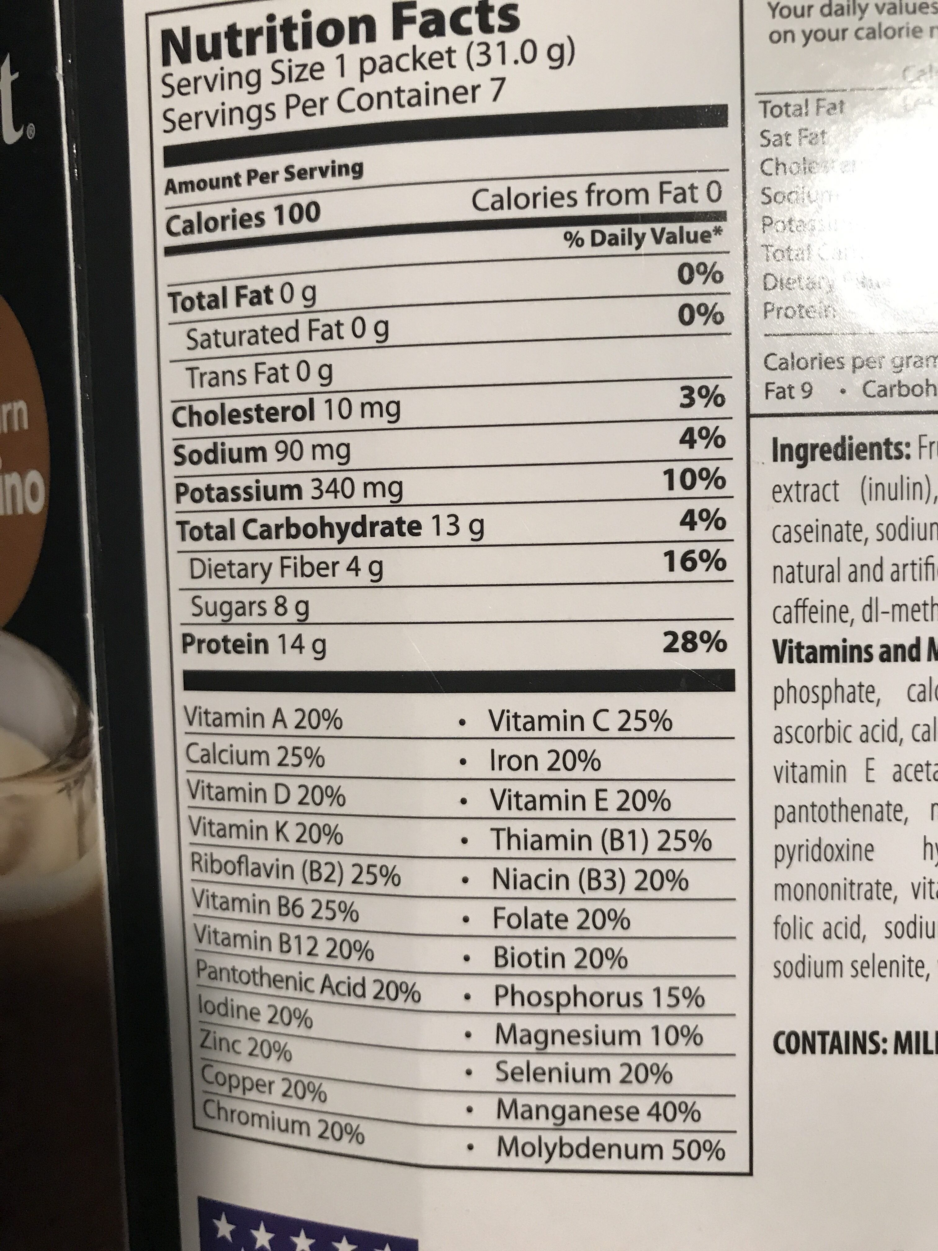 Calorie Burn Cappuccino - Nutrition facts