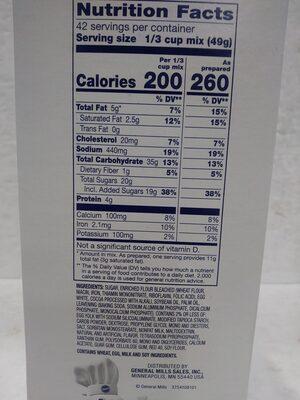 Bakers Plus Devil's Food Cake Mix - Informations nutritionnelles - en