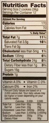 Pillsbury Chocolate Chunk Cookie Dough 24 Count - Nutrition facts - en