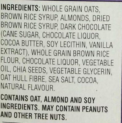 Barres granola au chia chocolat noir, amandes et sel de mer - Ingredients