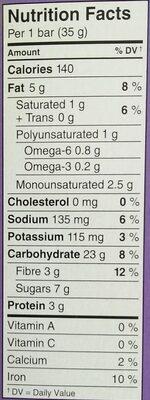 Barres granola au chia chocolat noir, amandes et sel de mer - Nutrition facts
