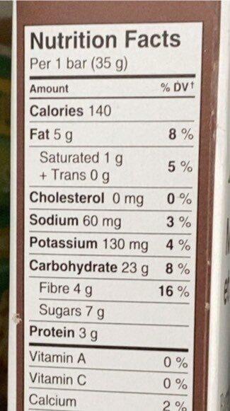 Dark Mocha Almond Whole Grain Bars - Nutrition facts - fr