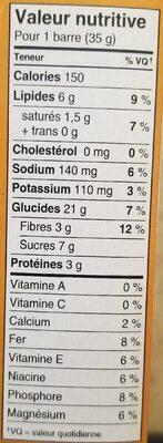 Barres chocolat et beurre d'arachide - Nutrition facts - fr