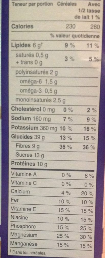 GoLean Crunch Honey, Almond, Flax - Nutrition facts