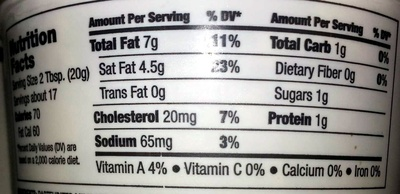 Whipped Cream Cheese Spread - Nutrition facts