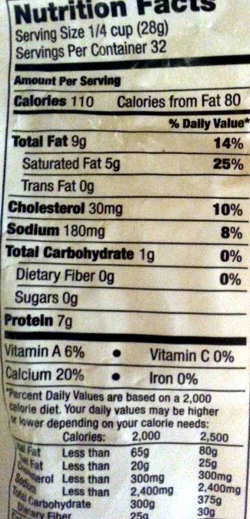 Shredded Mild Cheddar Cheese - Nutrition facts