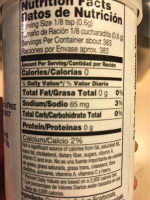 Baking Powder - Valori nutrizionali - en