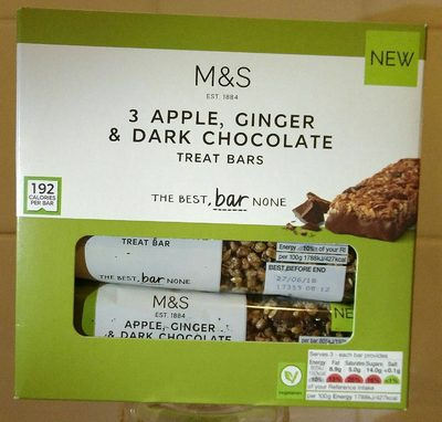 3 Apple, Ginger & Dark Chocolate Treat Bars - Product