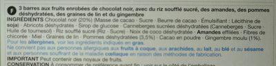 3 Apple, Ginger & Dark Chocolate Treat Bars - Ingrediënten - fr