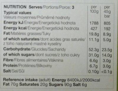 3 Apple, Ginger & Dark Chocolate Treat Bars - Nutrition facts