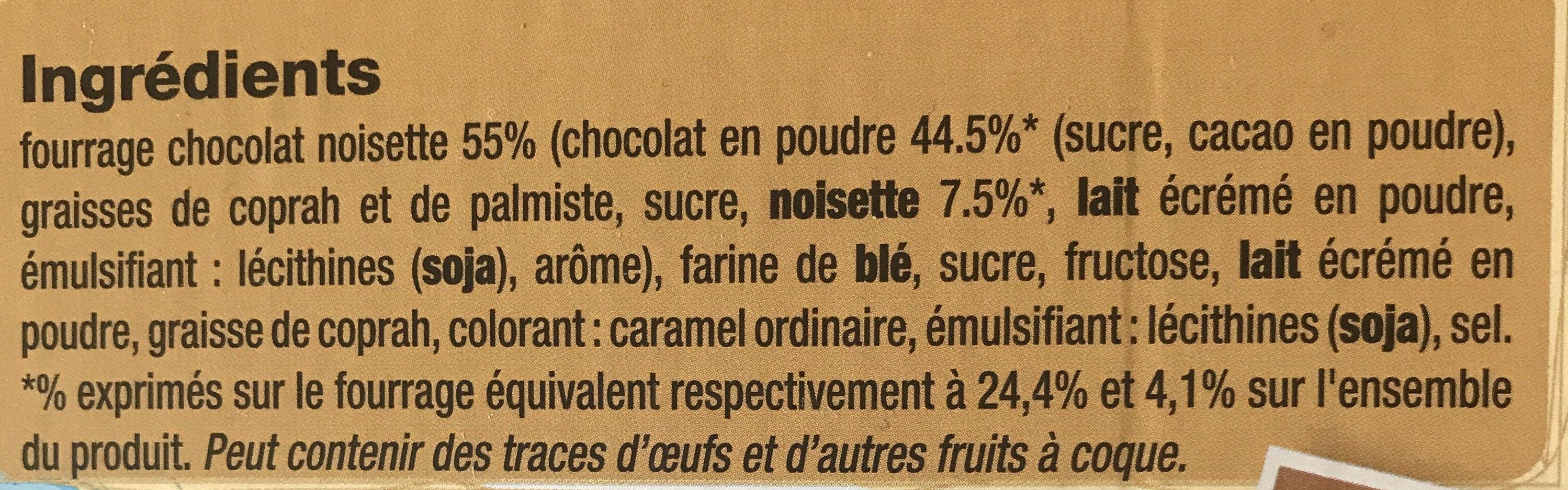 Cigarettes Fourrées Chocolat Noisettes - Ingrédients - fr