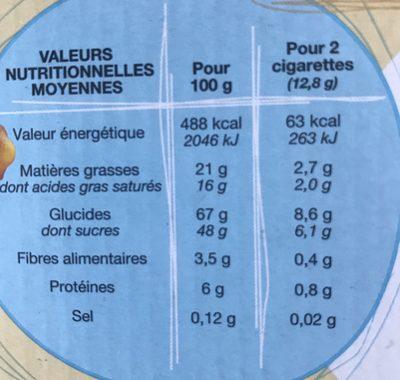 Cigarettes Fourrées Chocolat Noisettes - Informations nutritionnelles - fr