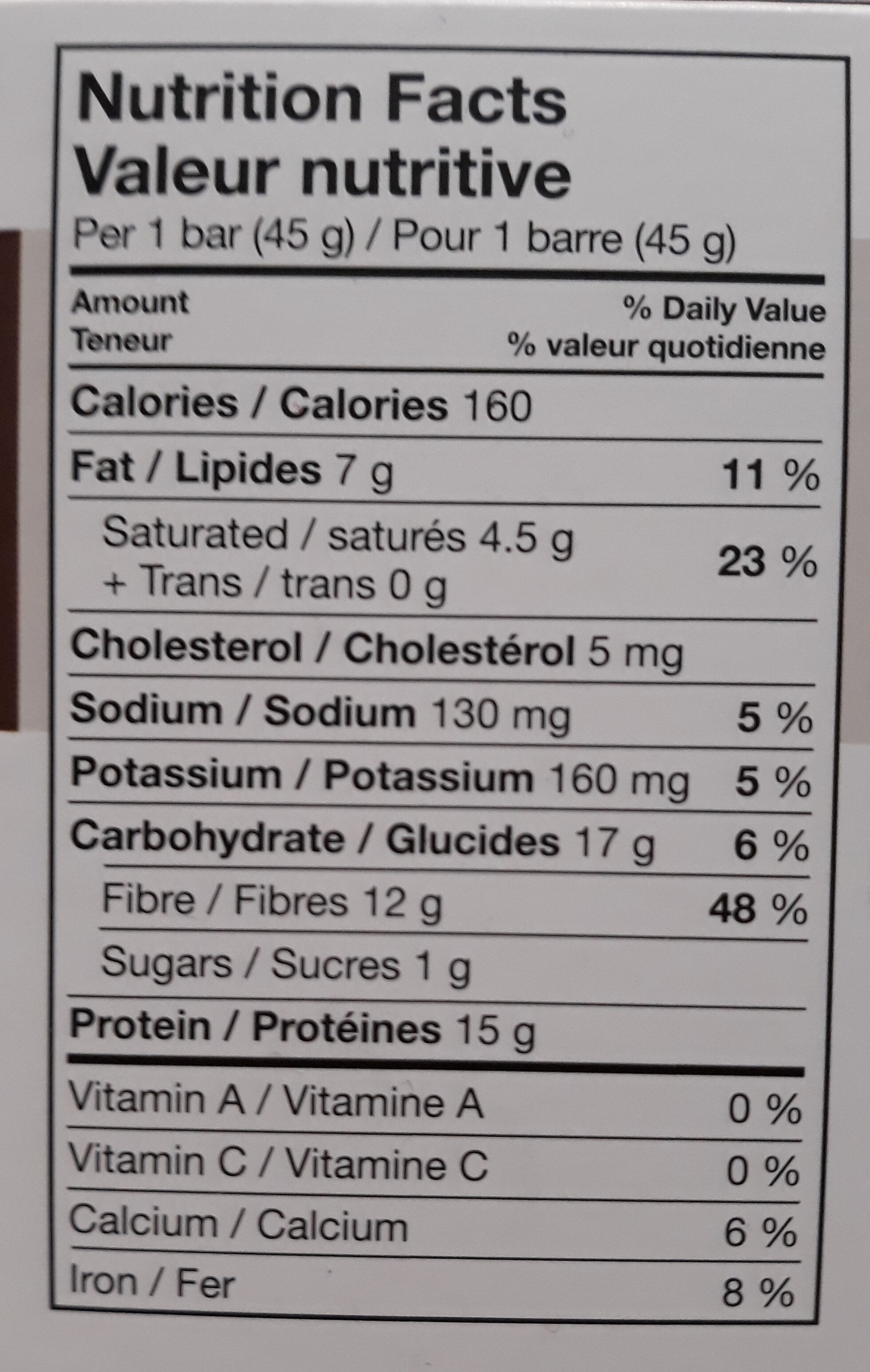 PROTI BAR - Nutrition facts - fr