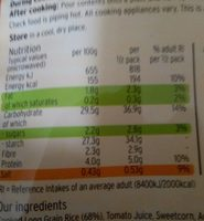 Microwave Mexican rice - Nutrition facts