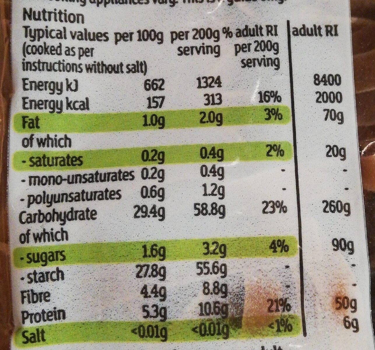Wholewheat tagliatelle - Nutrition facts