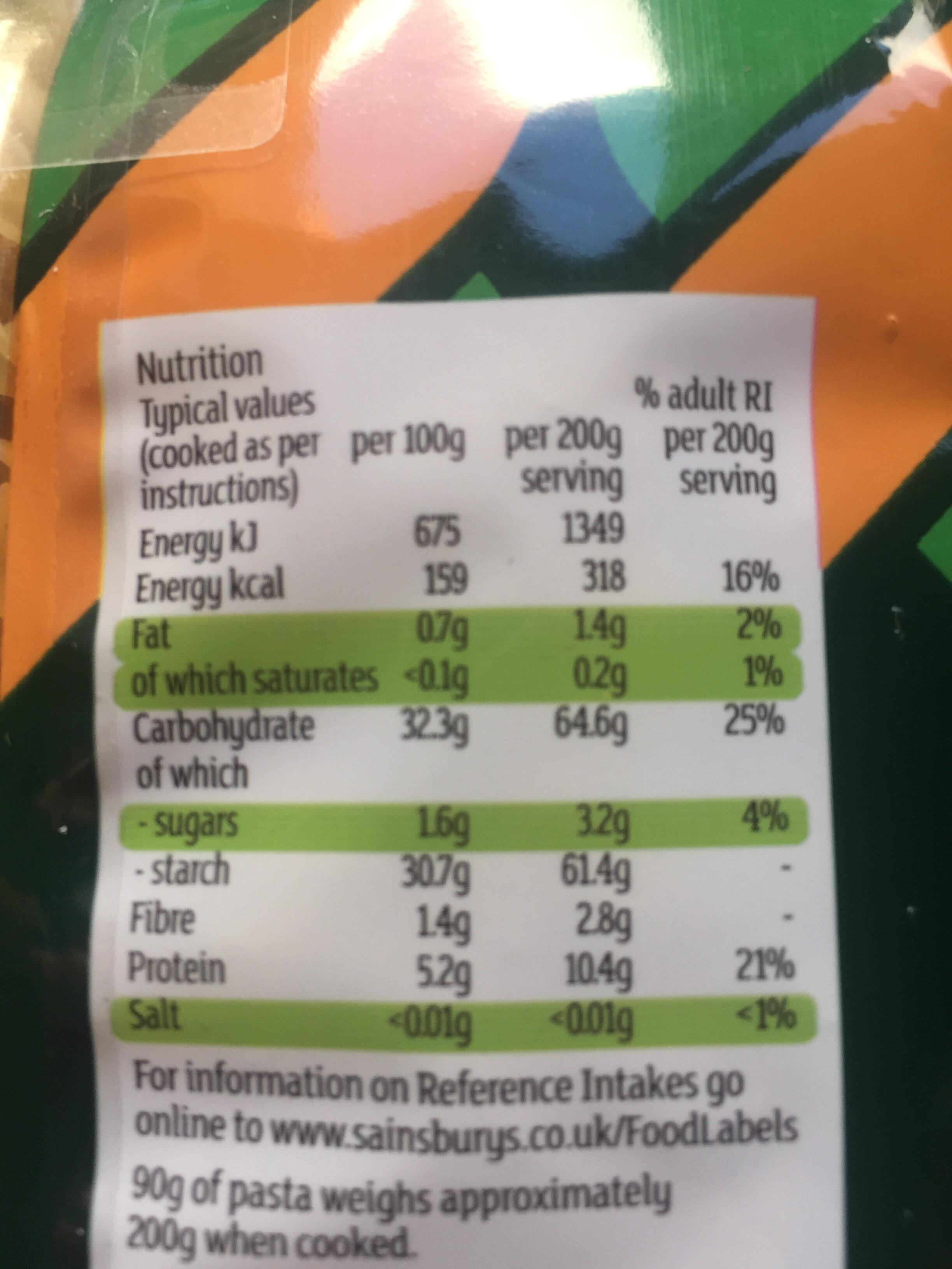 Quick Cook Fusilli - Informations nutritionnelles - en
