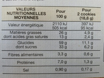 Cookies Chocolat Noisettes - Nutrition facts