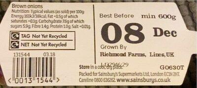 Brown onions - Nutrition facts - en