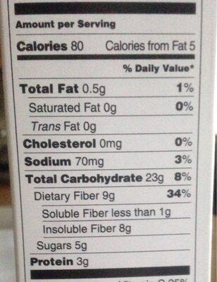 High fiber cereal - Nutrition facts - en
