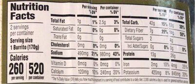 Bean & Rice Burrito - Nutrition facts - en