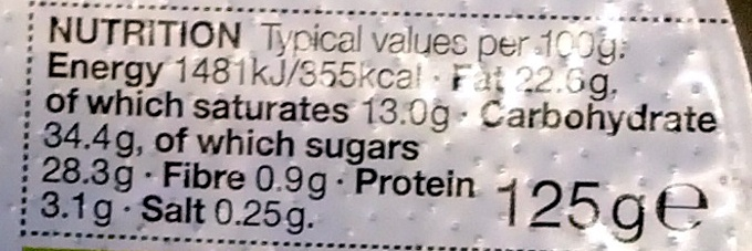 Lemon Cheesecake - Nutrition facts