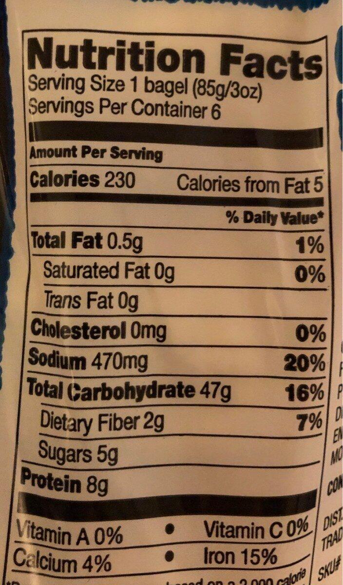 Bagel Joseph's - Nutrition facts - en
