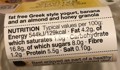 Greek style yogurt with fresh banana-granola - Nutrition facts