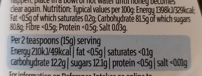 Acacia Clear Honey - Nutrition facts - en