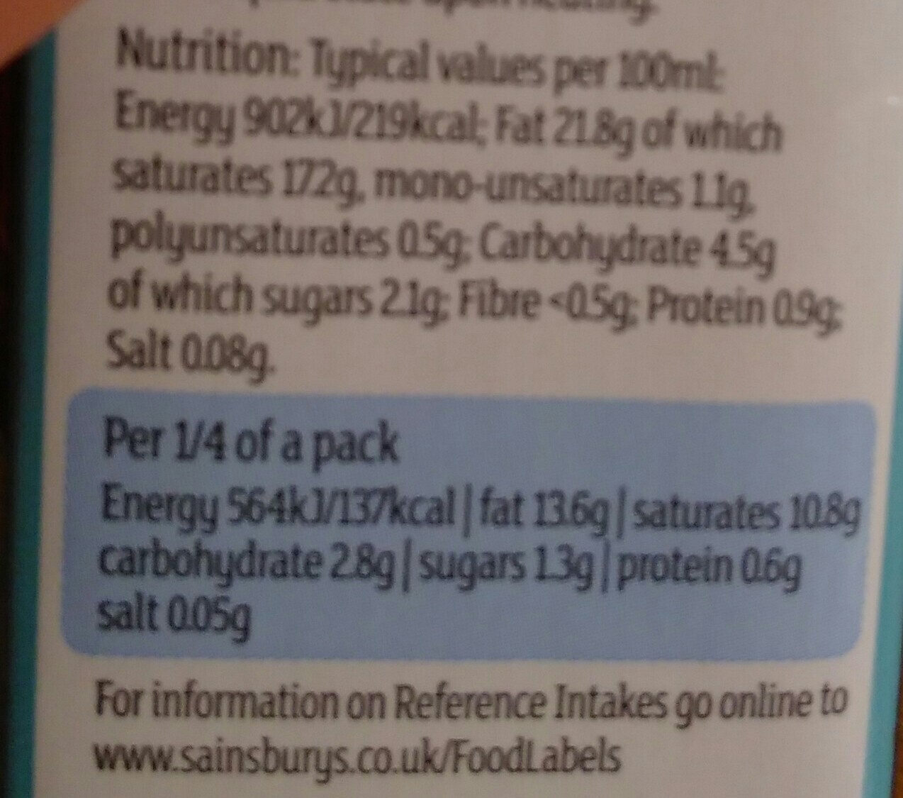 Coconut Cream by Sainsbury's - Informations nutritionnelles