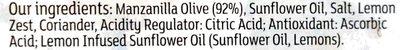 lemon and coriander Manzanilla olives - Ingredients