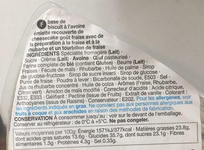Cheesecake Fraise & Rhubarbe - Ingrédients