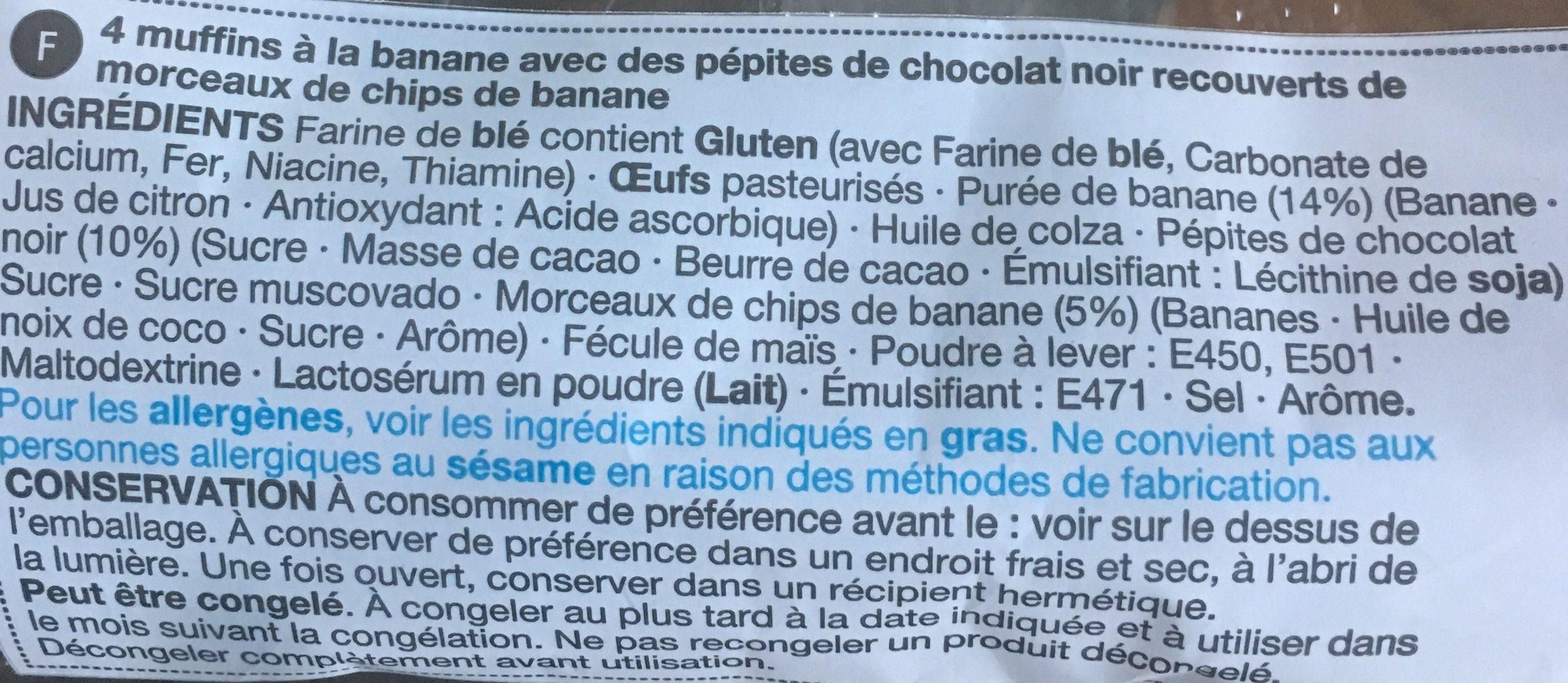 Banana & Chocolate chip Muffins - Ingredients - fr