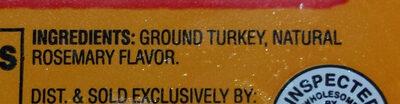 Ground turkey 93% Lean - Ingredients - en